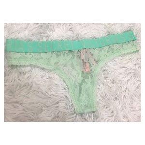 NWT Victoria's Secret Mint Green Lace Thong Large